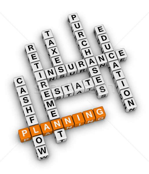Személyes pénzügyi tervezés keresztrejtvény család pénz oktatás Stock fotó © almagami