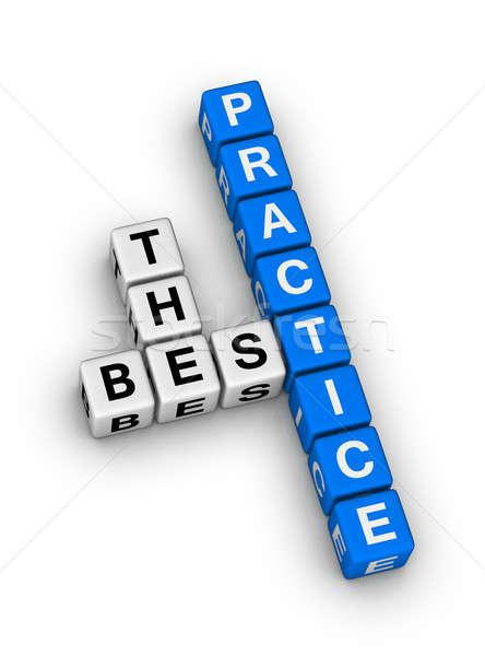 Meilleur pratique mots croisés puzzle boîte bleu Photo stock © almagami