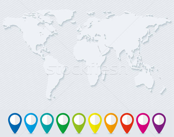 World map and set of colorful map pointers Stock photo © almagami