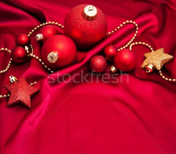 Natal vermelho seda ouro fundo inverno Foto stock © almaje