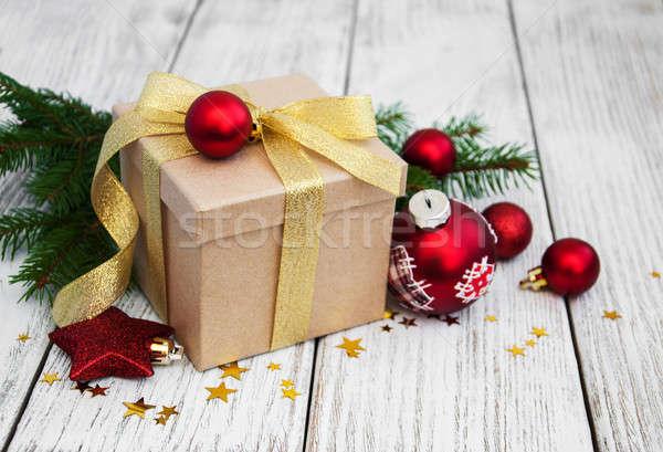 Natal caixa de presente velho papel Foto stock © almaje