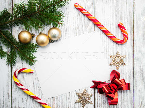 christmas background - blank paper with decoration Stock photo © almaje