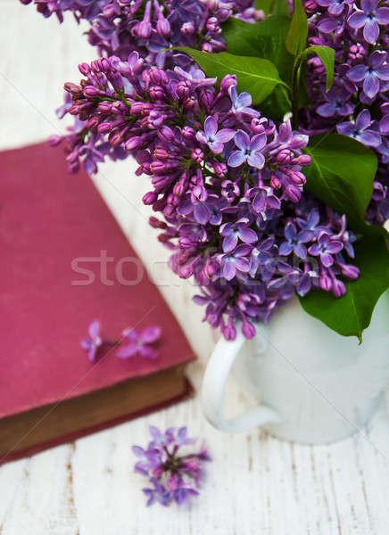сирень цветы старые книги бумаги весны Сток-фото © almaje