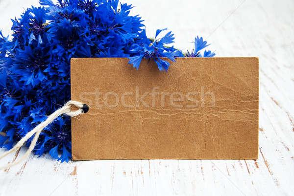 Stock photo: Cornflowers and card