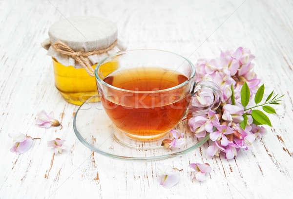 Chá mel flores copo árvore Foto stock © almaje