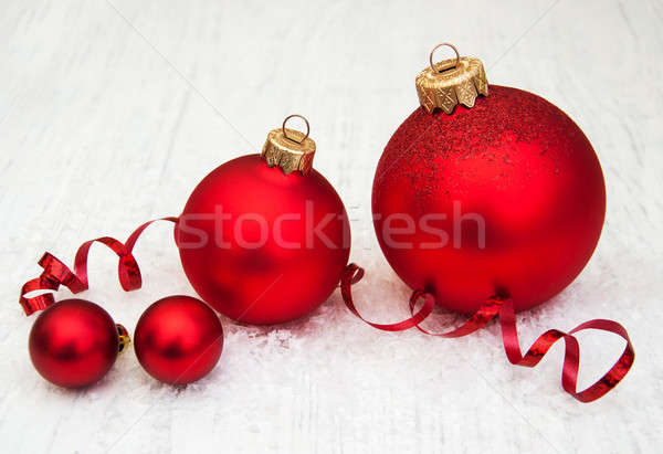 Photo stock: Rouge · Noël · ruban · bois · verre