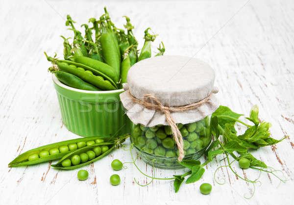 Foto stock: Jar · frescos · chícharos · edad · alimentos