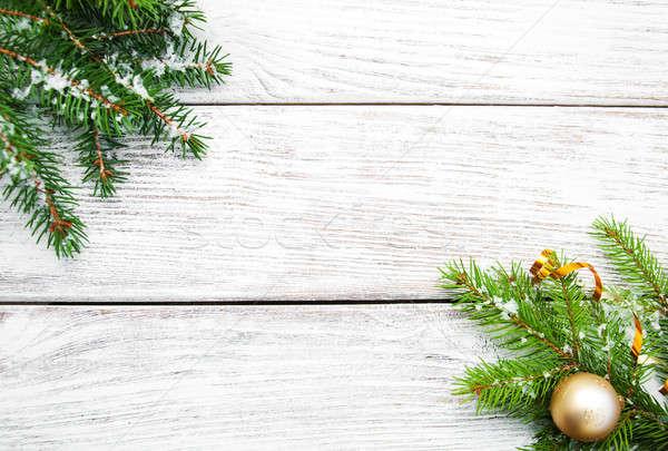Natal decorações neve árvore de natal ramo bola Foto stock © almaje