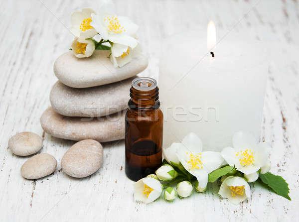 Fürdő virágok öreg fából készült test egészség Stock fotó © almaje
