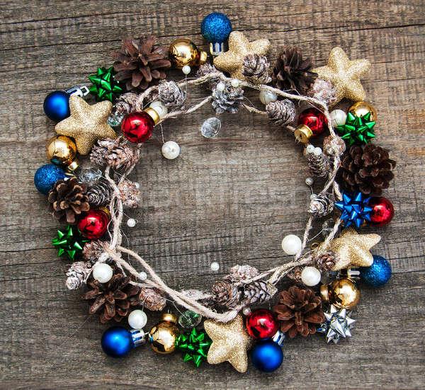 Christmas wakacje girlanda drewniany stół tekstury polu Zdjęcia stock © almaje