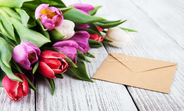 Tulipán ramo dotación Pascua flor Foto stock © almaje