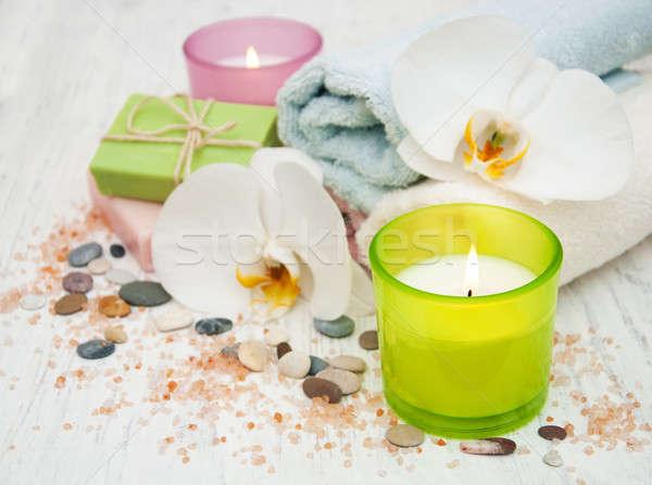 Орхидеи свечу полотенце ручной работы мыло старые Сток-фото © almaje