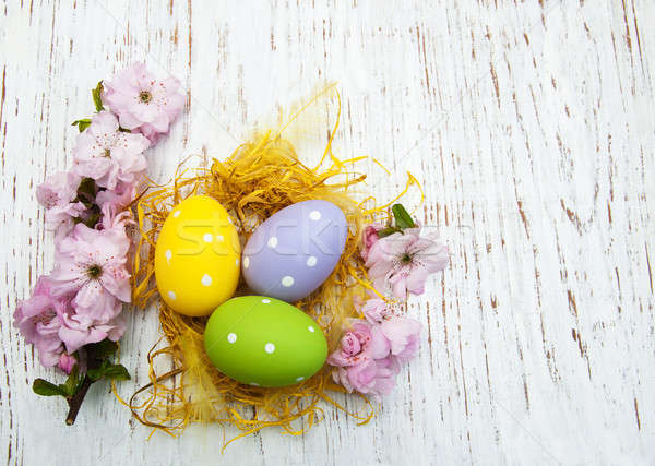 Húsvéti tojások anime virág öreg fából készült húsvét Stock fotó © almaje