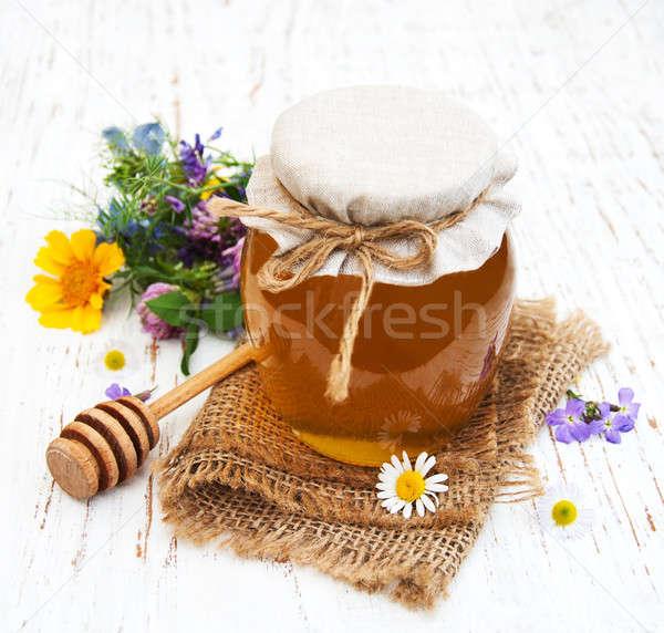 Méz vad virágok fából készült természet egészség asztal Stock fotó © almaje