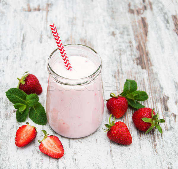 Yogurt with strawberries Stock photo © almaje