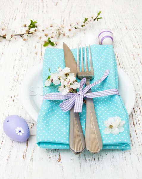 Húsvét asztal cseresznyevirágzás öreg fából készült zöld Stock fotó © almaje