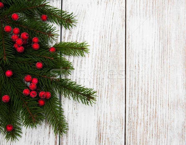 Christmas vakantie boom witte houten tafel natuur Stockfoto © almaje