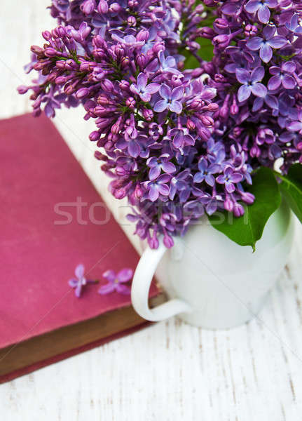 Lilac flowers and old book Stock photo © almaje