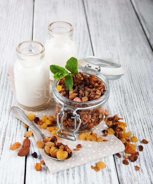 Zdjęcia stock: Domowej · roboty · otwarte · szkła · jar · mleka