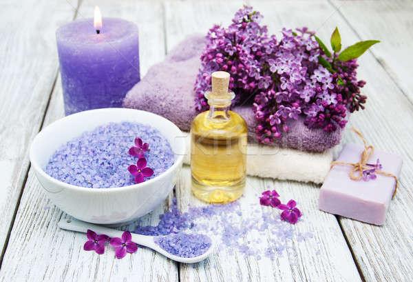 Fürdő orgona virágok masszázs termékek egészség Stock fotó © almaje