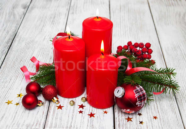 Dekoratif Noel kırmızı mumlar çam yangın Stok fotoğraf © almaje