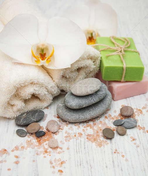 Орхидеи полотенце ручной работы мыло старые Сток-фото © almaje