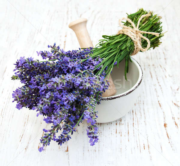 bunch of lavender flowers and mortar Stock photo © almaje