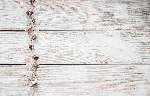 Christmas vakantie guirlande houten tafel textuur licht Stockfoto © almaje