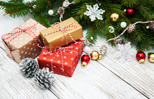 Noel hediye kutuları ahşap dizayn kutu Stok fotoğraf © almaje