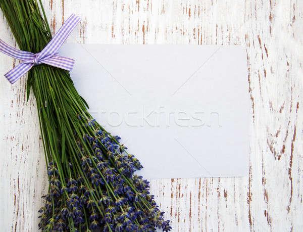Lavanta çiçekler kart eski ahşap çiçek Stok fotoğraf © almaje