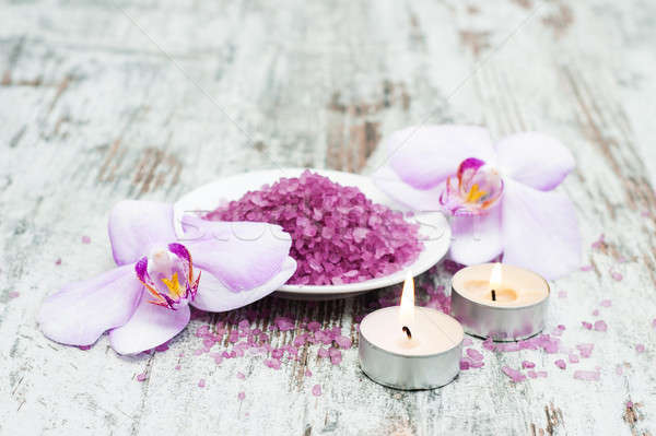 Spa masaj ürünleri orkide eski ahşap Stok fotoğraf © almaje