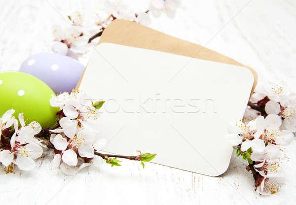 Stok fotoğraf: Paskalya · tebrik · kartı · kiraz · çiçek · yumurta · çiçek