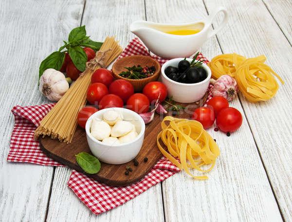 Stok fotoğraf: İtalyan · gıda · malzemeler · eski · ahşap · tablo · yağ