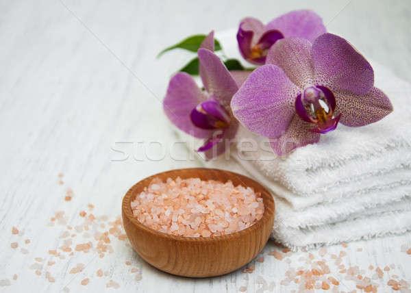 Sea salt, orcids and towels Stock photo © almaje