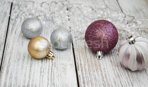 Karácsony golyók asztal fehér öreg fa asztal Stock fotó © almaje