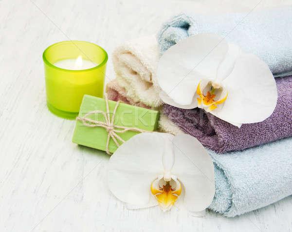 Orkide mum havlu el yapımı sabun eski Stok fotoğraf © almaje