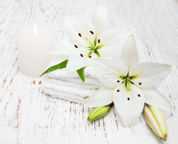 Stok fotoğraf: Spa · ürünleri · beyaz · zambak · eski · ahşap