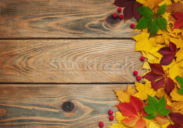 Houten tafel frame vallen kleurrijk bladeren Stockfoto © almaje