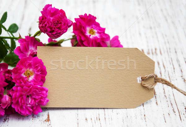 Rozen kaart roze oude houten bloem Stockfoto © almaje