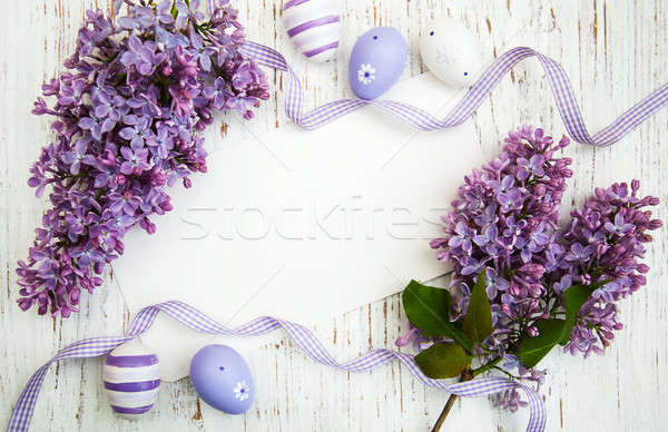Easter card with lilac flowers Stock photo © almaje