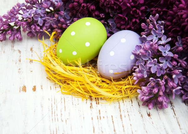 Huevos de Pascua frescos lila flores edad Foto stock © almaje