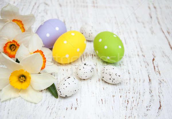 пасхальных яиц нарциссов цветы старые Пасху Сток-фото © almaje