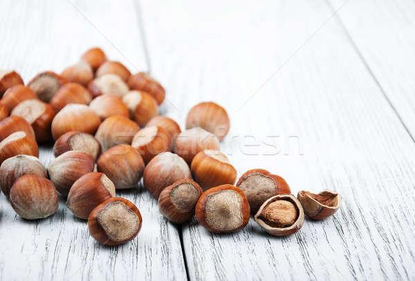 Mogyoró fa asztal közelkép öreg természet egészség Stock fotó © almaje
