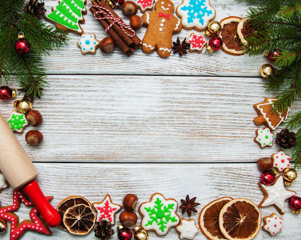 Christmas ginger and honey colorful cookies Stock photo © almaje