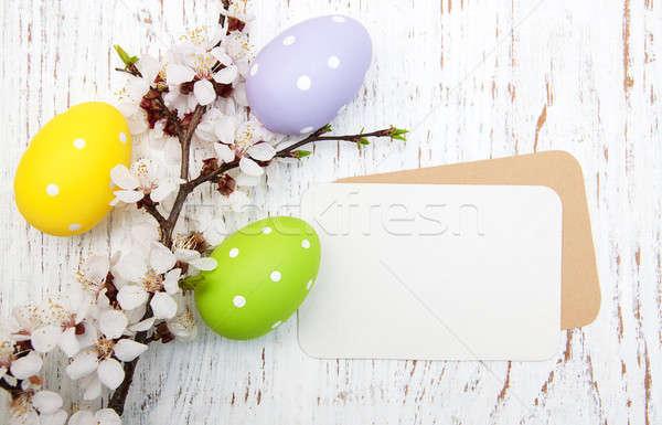 Pasen wenskaart kersen bloesem eieren bloem Stockfoto © almaje