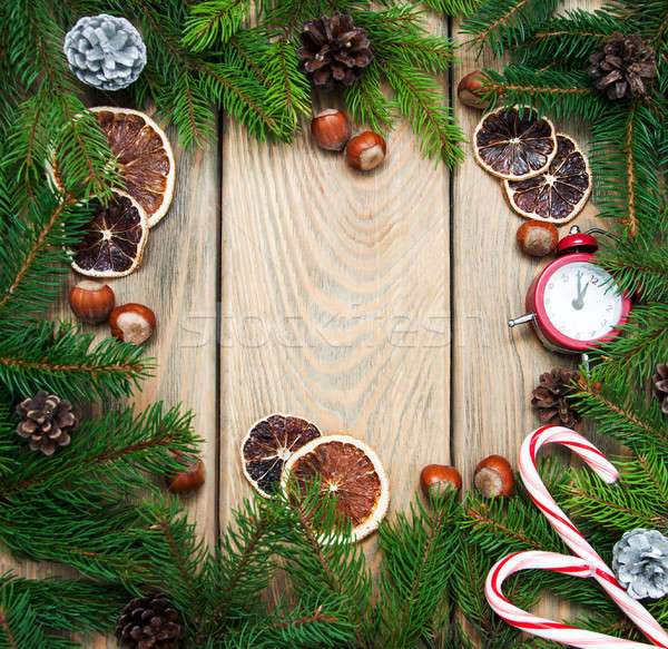 Christmas vakantie decoratie houten tafel hout sneeuw Stockfoto © almaje