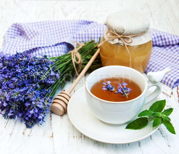 Кубок чай лаванды цветы старые Сток-фото © almaje