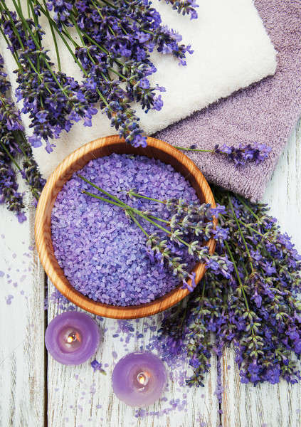 Lavender, sea salt and candle Stock photo © almaje