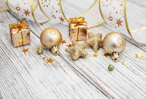 Ouro natal velho mesa de madeira feliz espaço Foto stock © almaje