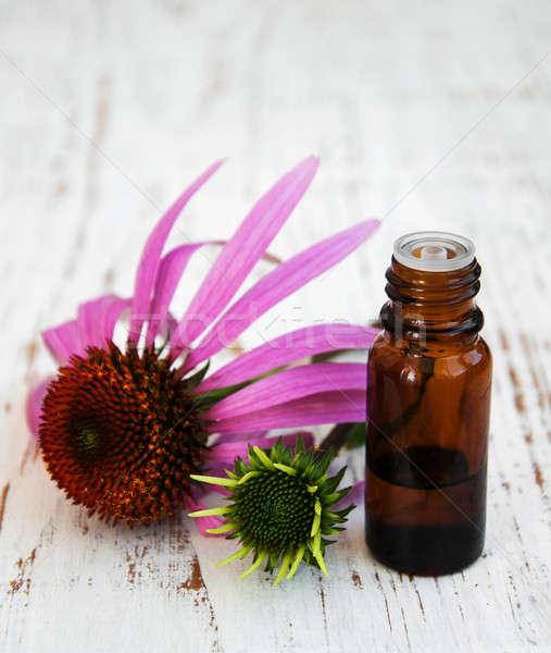 şişe öz yağ mor çiçek tıbbi Stok fotoğraf © almaje